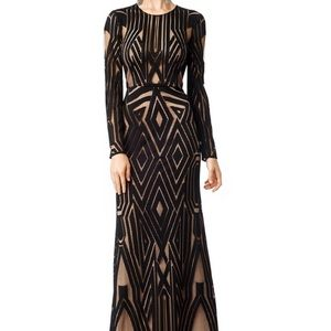 BCBG Black Geometric Nude Lined Lace Chakra Gown